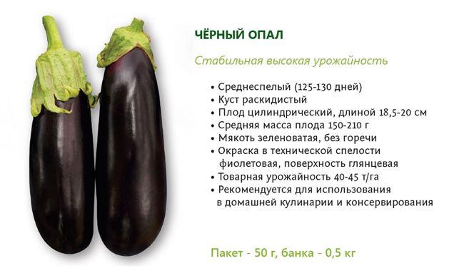 Таблица: характеристики сорта баклажанов Чёрный опал